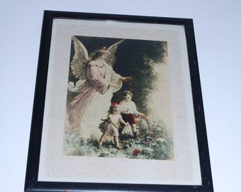 Rare Unique Antique Big Icon/ Angel Guard with children kids boy girl original litho print under glass wooden black frame religious Catholic