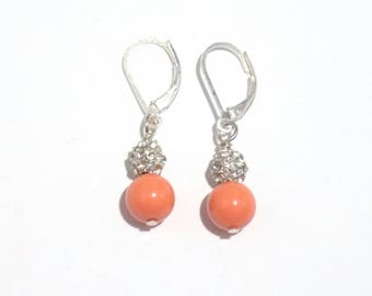 Orange pearl earrings, bridesmaid earrings, pearl earrings, dangle earrings, sterling silver earrings, earrings, gift for her, orange