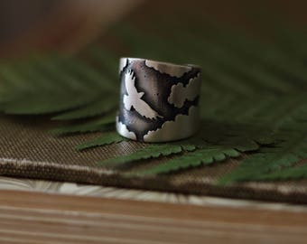 Raven Ring. Spread your wings. Cloud Ring. Nature Ring. Bird Ring. Wanderlust. Outdoor Lover.