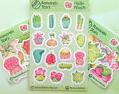 Stickers of the Chibi Plants - Cute nature - Stickers for planner, calendar, decorate (cactus, succulent, lithops, flowers, roots, seed)