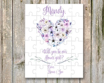 Will You Be My, flower girl, Bridesmaid, Puzzle, Custom Puzzle, Bridesmaid Proposal, proposal ideas, Floral Bridesmaid Proposal Gift Puzzle,