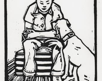 "Signed Linocut Print, ""Boy with Dog"""
