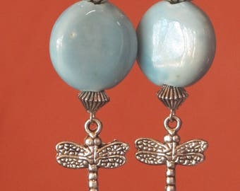 Dangling REVA round blue sky and ceramic Dragonfly charm earrings Silver / / gift for her / / From Tahiti with love