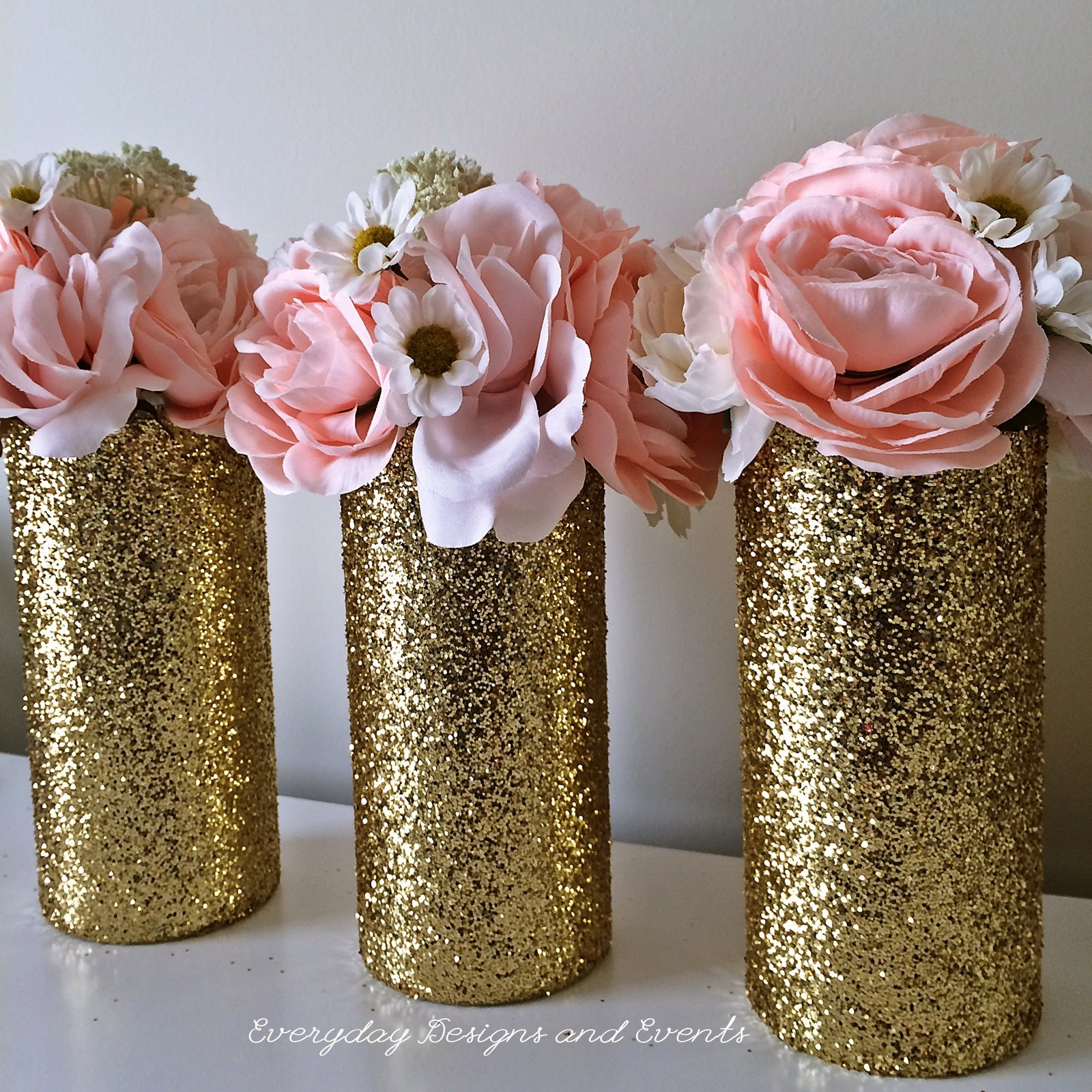 Gold Wedding Centerpiece Decorations: 3 Gold Wedding Centerpiece Wedding Decorations Gold Glitter