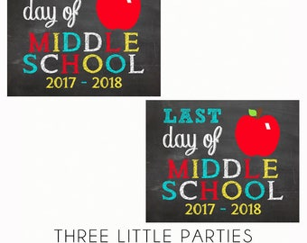 First Day of School Sign,  Day of School Sign, Middle School 8x10, INSTANT DOWNLOAD, Middle School Printable Sign, Back to School Chalkboard