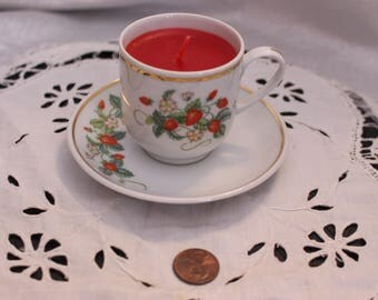 Set of 4 Vintage Avon Strawberry Porcelain Demi-Cup, Saucer and Candle made in Brazil by Avon 1978
