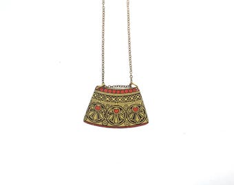 Art nouveau necklace -  Vintage tin jewelry - yellow gold