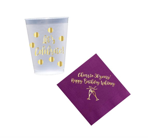Cheers to 30 years birthday party cups, 30th birthday napkins, personalized cups, foil stamped napkins, adult birthday party favors