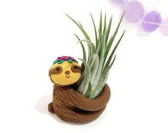 Sloth Air Plant Holder with Flower Crown, Gift for Her, Planter, Valentines Gift, Womens Gift, Sloth Gift for Girlfriends, Gift for Mom