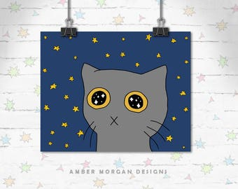 Starry Eyed Kitten, Cat Art Print, Cute Cat Art, Funny Decor, Cat Lover Gift, Cute Art, Art Print, Giclee Print, Archival Print