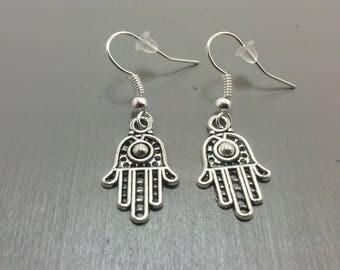 Silver Hamsa Earrings