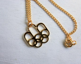 Gold Plated 1976 Montreal Olympics  Souvenir Necklace, Olympics Collectible,