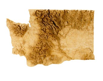 Wooden topographic map of Washington, 3d map, wood geographic wall art