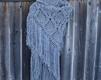 Ready to ship Crochet Shawl,Crochet Lace Scarf,Crochet Bridal Scarf,Crochet Wrap,Crochet Lace Shawl,Grey Lace Scarf,Handmade,Christmas