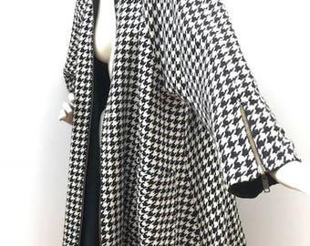 coat/ pied de poule/ double face/ vintage