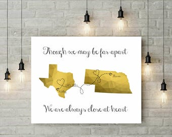 Long Distance Best Friend Gift | Distance Friendship Quote | Birthday Gift For Friend | Geometric Gold Print - 50377
