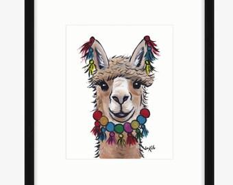 Alpaca art, alpaca decor. Alpaca print from original Alpaca on canvas painting.