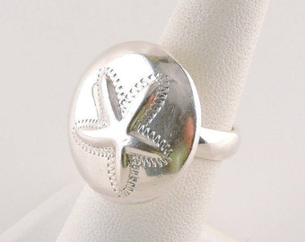 Size 6 Sterling Silver Sand Dollar Ring