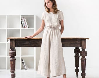 Linen jumpsuit BARCELONA / Washed long linen overall / Linen romper available in 34 colors