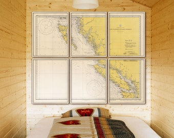 "British Columbia Coast map, 6 sizes up to 72x60"" Nautical chart of British Columbia in 1 or 6 parts, also in blue - Limited Edition of 100"