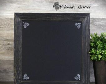 "Rustic Framed Chalkboard, Kitchen Chalkboard, Distressed Frame, Kitchen Décor, Handmade, Woodgrain, Wall Decor, Pine Accent, 18""x18"""