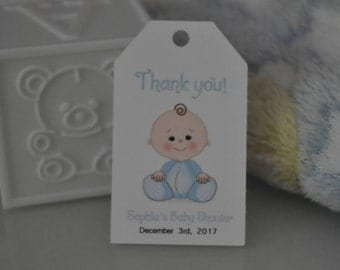Baby Shower FAVOR TAGS / set of 10 tags. Blue satin ribbon is included.
