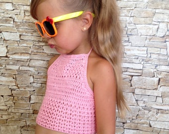 Pink crocheted toddler lace top/ Cotton open back toddler baby crochet top/ Halter bohemian Festival toddler tops/ Beach toddler clothing