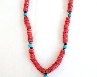 Tibetan 18 inch necklace, red coral, turquoise and sterling silver, lobster clasp