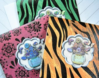 Assorted Cards, All Occasion Cards, Card Set, Blank Cards, Up cycled, floral cards, animal print, set of 3