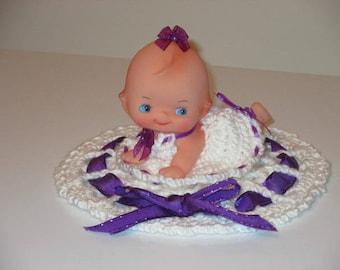 Vintage Kewpie Doll (crawling)in Crochet Dress & Doily