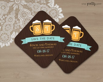 Beer Themed Save the Date Coasters for Weddings - Ultra Thick Paper Coasters