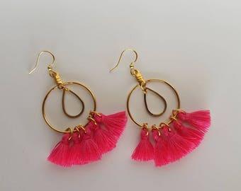 Millie Tassel Earrings in Pink