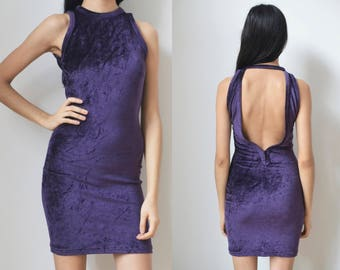 PURPLE BODYCON DRESS -lilac, velvet, sleeveless, cut out, open back, backless, gothic, grunge, sexy, party, night, cocktail, clubkid, women-