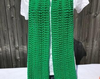 Jellybean Green Crocheted Fringe Scarf