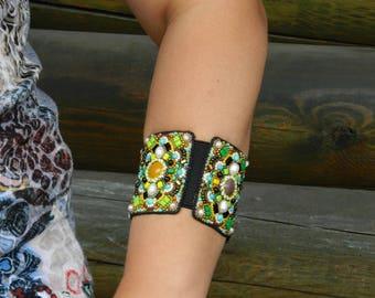 Beaded bracelet for women Bead embroidered bracelet Cuff bracelet with stone Hand beaded cuff Wide bracelet yellow Designer bracelet