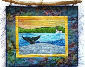 Whale of a Tail Art Quilt / Fiber Art / Beach Wall Art / Whale Wall Art / Quilted Fabric Art / Custom Art Quilt / Textile Wall Hanging