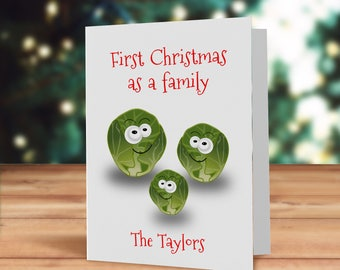 First Christmas as a family card, New family Christmas card, fun xmas sprout card, Christmas sprout family card, family Christmas card