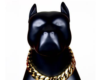 """Gold Plated 1.2"""" Extra Wide Stainless Steel Heavy Duty Cuban Chain Slip Dog Collar 