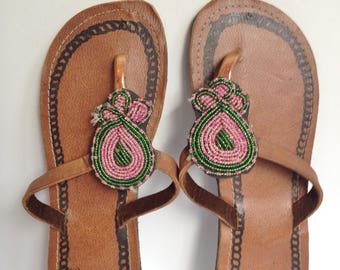 Hand Made Leather Sandals - Beaded Strap 2