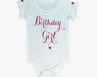 Birthday Girl Bodysuit (White & Hot Pink Glitter) Customized Birthday Bodysuit