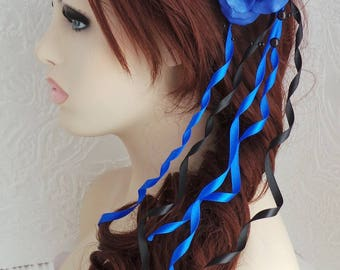 Adornment for hairstyle, ceremony, Camellia and two-tone satin ribbons