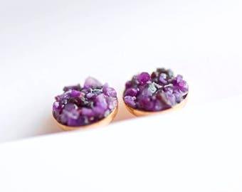 FREE SHIPPING // Raw Purple Sugilite Stud Earrings // Sugilite Jewelry // Sugilite Stone // Purple Sugilite Earrings // Sugilite Earrings
