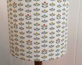 Scandinavian handmade drum lampshade with tulip pattern in mustard, grey, teal, orange - Scandi geometric tulip flower drum lampshade