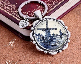 Delftware, Delftware Design Key Chain, Antique Dishes, Windmill, Birds, Flowers Blue and White, Delft Gift, Christmas Gift