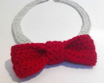 Red Crochet Bow Tie with Button Fastening