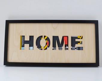 Manchester wall art 'Hacienda Home' laser cut plywood, Manchester gift, Manchester music, Madchester Art, Unframed