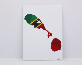 St Kitts And Nevis Painting, Original Painting, St Kitts, St Kitts And Nevis Map, Saint Kitts Flag, Map Wall Art, Travel Art, Map Print