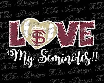 Love My FSU Seminoles - Florida State University Football SVG File - Vector Design Download - Cut File
