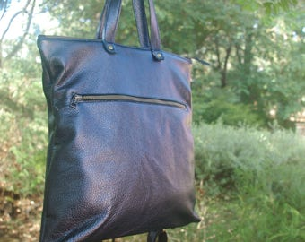 Navy leather Backpack and tote convertible, FREE purse, pearlized soft pebble leather bag, soft metallic, fully lined, removable straps