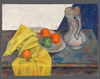 1958 Emma Ferry Oil Painting Still Life Vintage Art On Canvas Panel Board 18 x 24